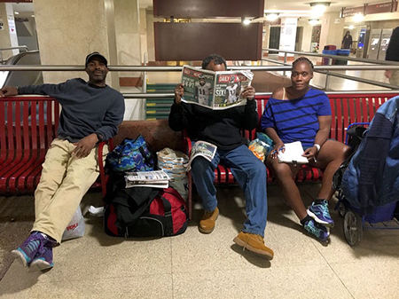 homeless in suburban station