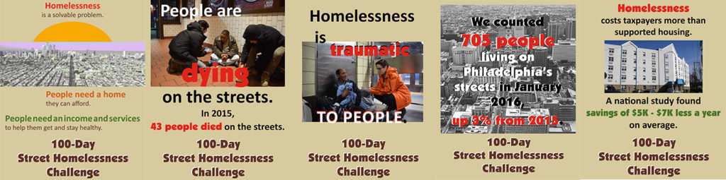 100-day street homelessness challenge posters