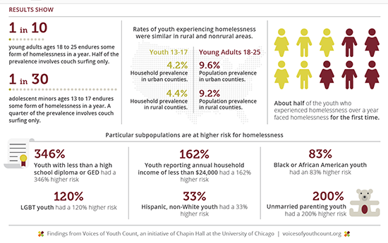 Youth homelessness results graphic